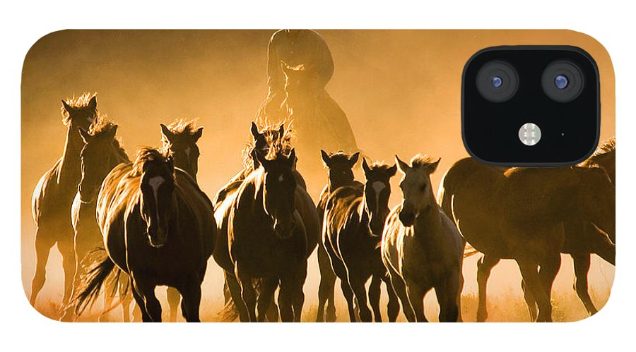 Horses Wrangler Ranching IPhone 12 Case featuring the photograph Driving the Herd by Lourie Zipf