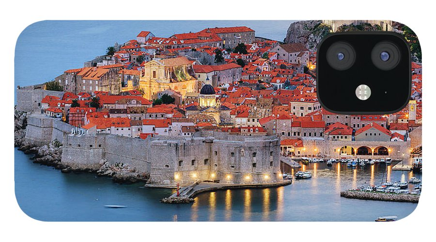 Scenics IPhone 12 Case featuring the photograph Dubrovnik City Skyline At Dawn by Pixelchrome Inc