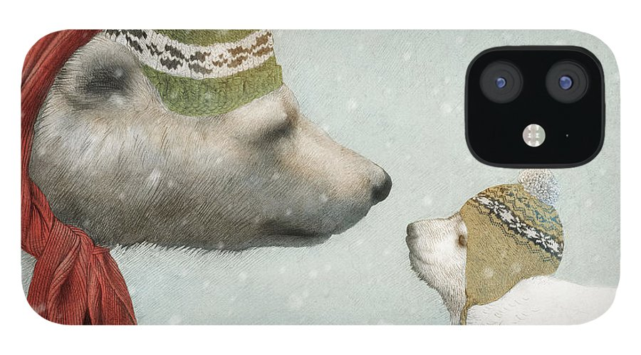 Polar Bear iPhone 12 Case featuring the drawing First Winter by Eric Fan