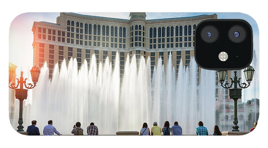 People IPhone 12 Case featuring the photograph Fountains Of Bellagio, Bellagio Resort by Sylvain Sonnet