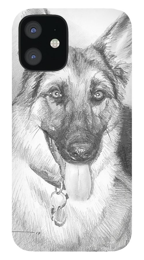 <a Href=http://miketheuer.com Target =_blank>www.miketheuer.com</a> German Shepherd Pencil Portrait iPhone 12 Case featuring the drawing German Shepherd Pencil Portrait by Mike Theuer