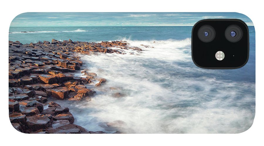 Water's Edge IPhone 12 Case featuring the photograph Giants Causeway On A Cloudy Day by Mammuth