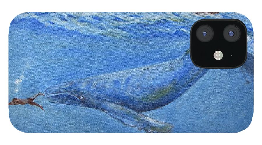 Bible;jonah And The Whale;whale;humpback Whale;mammals;sea Mammals;stormy Sea;fish;boat;waves;religion;old Testiment;spiritual;god And Religion;ad;seascape;water;sky;weather IPhone 12 Case featuring the painting Jonah by Howard Stroman