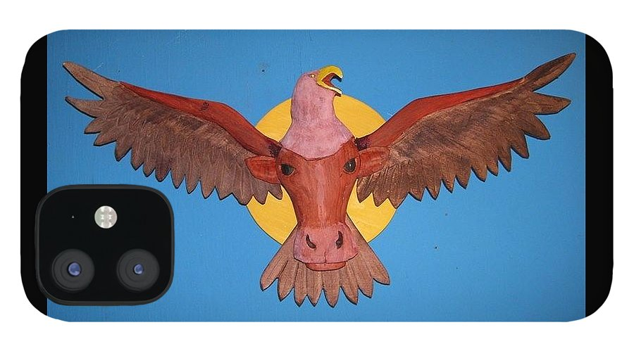 Eagle IPhone 12 Case featuring the sculpture Longhorn Eagle by Michael Pasko