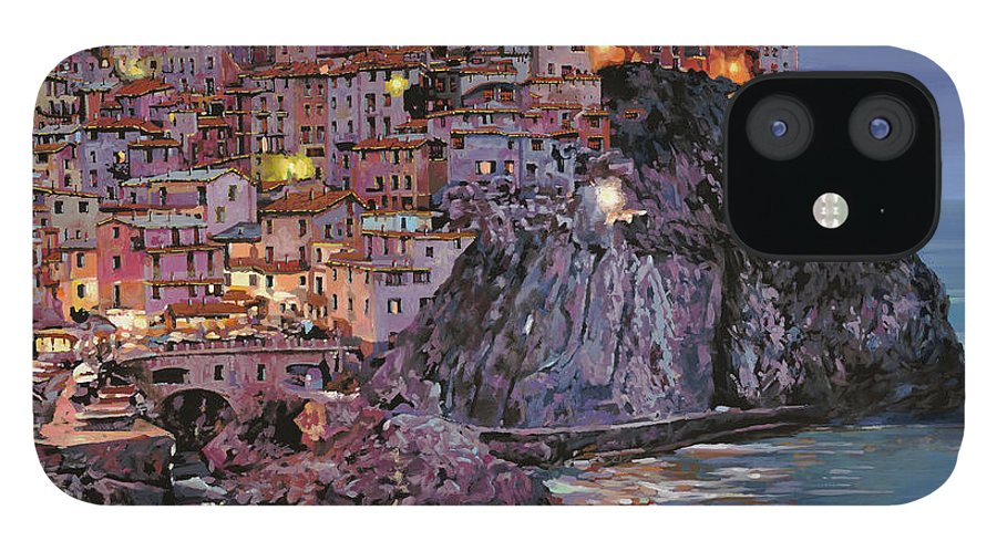 Manarola IPhone 12 Case featuring the painting Manarola al crepuscolo by Guido Borelli