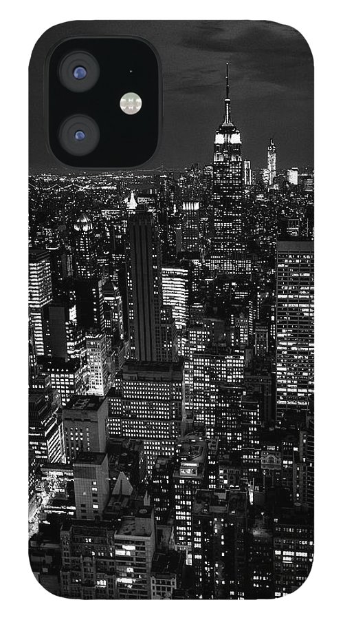 Outdoors IPhone 12 Case featuring the photograph Manhattan Skyline At Night, New York by Mike Hill