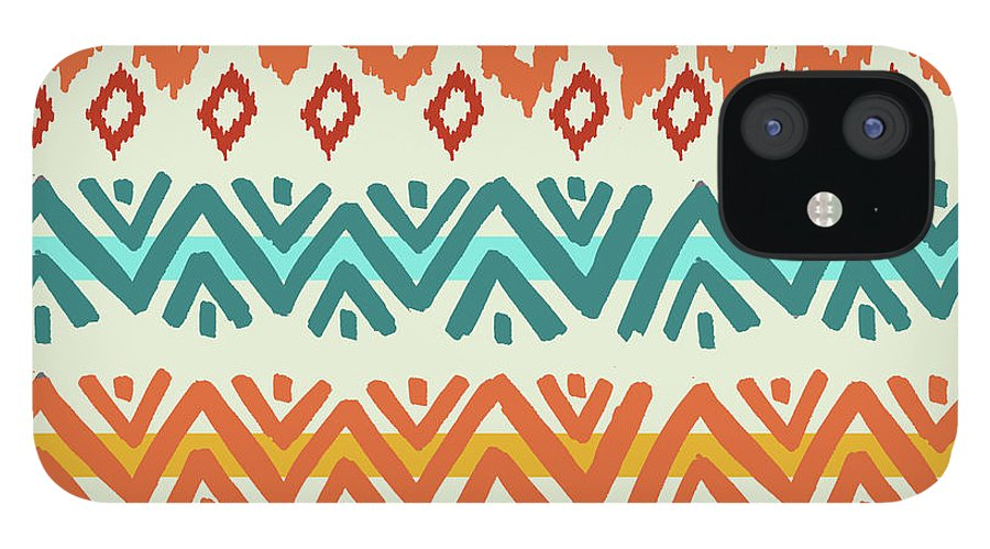 Navajo IPhone 12 Case featuring the digital art Navajo Mission Round by Nicholas Biscardi
