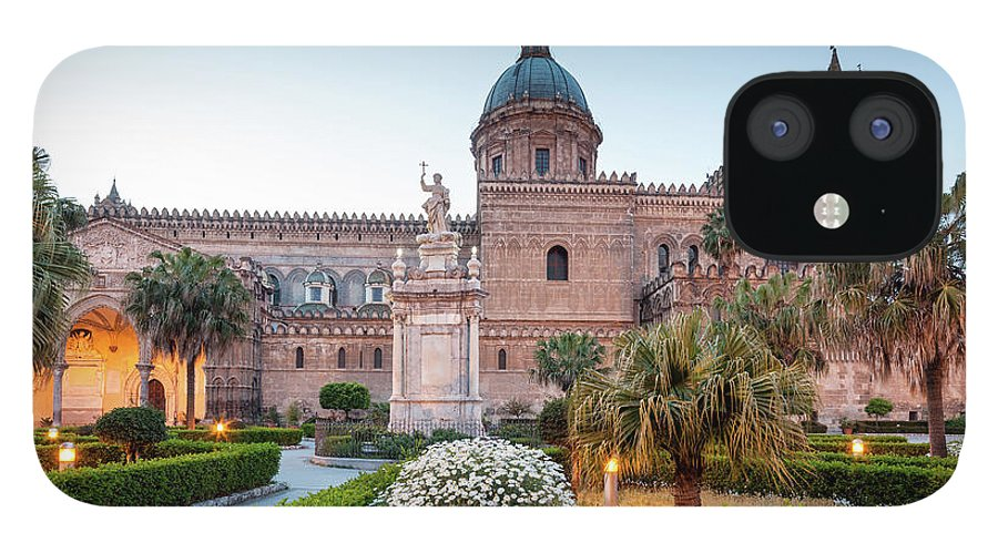 Saturated Color IPhone 12 Case featuring the photograph Palermo Cathedral At Dusk, Sicily Italy by Romaoslo