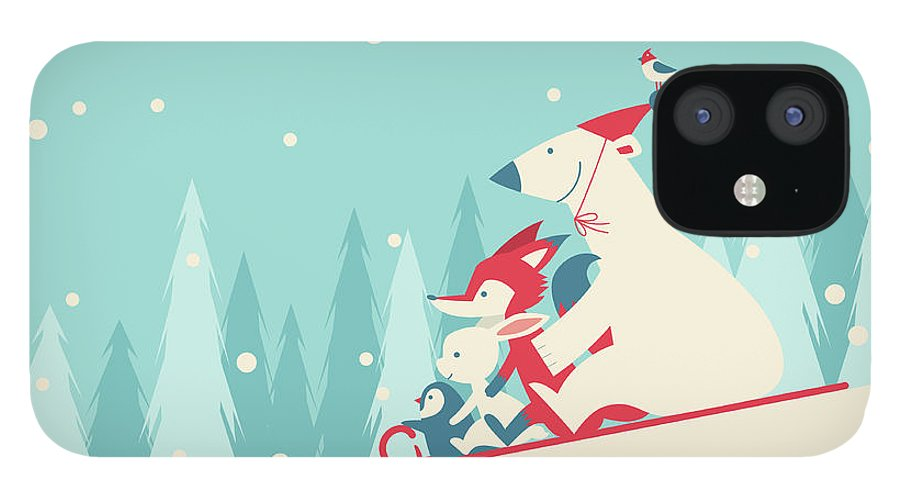 Snow IPhone 12 Case featuring the digital art Playing Snow Sled by Akindo