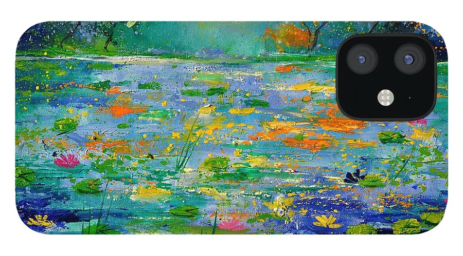 Landscape IPhone 12 Case featuring the painting Pond 454190 by Pol Ledent
