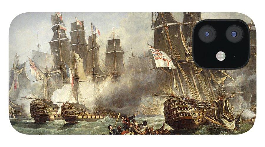 Battle Of Trafalgar IPhone 12 Case featuring the painting The Battle of Trafalgar by English School
