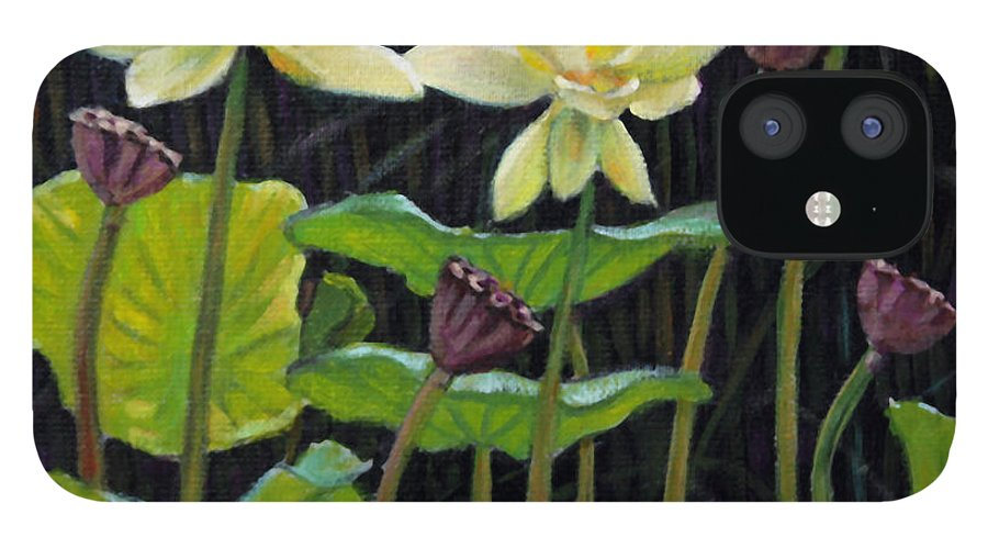 Lotus IPhone 12 Case featuring the painting Touching Lotus Blooms by John Lautermilch