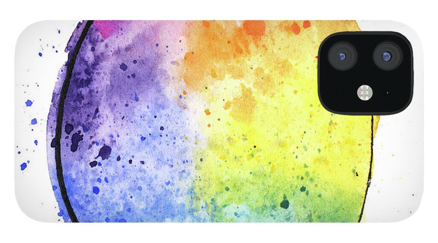 Watercolor Painting IPhone 12 Case featuring the digital art Watercolor Painting Of A Colorful by Andrea hill