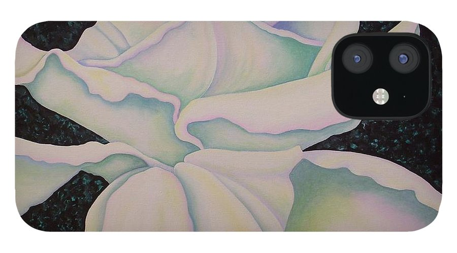 Acrylic iPhone 12 Case featuring the painting White Rose by Carol Sabo