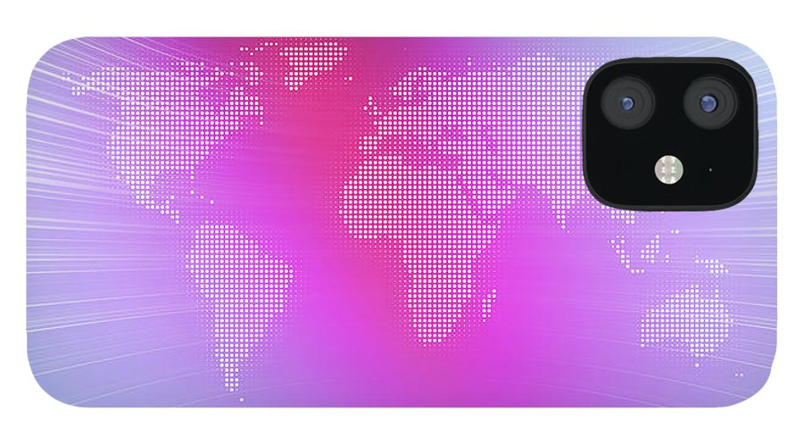 Curve IPhone 12 Case featuring the digital art World Map In Dots Against An Abstract by Ralf Hiemisch