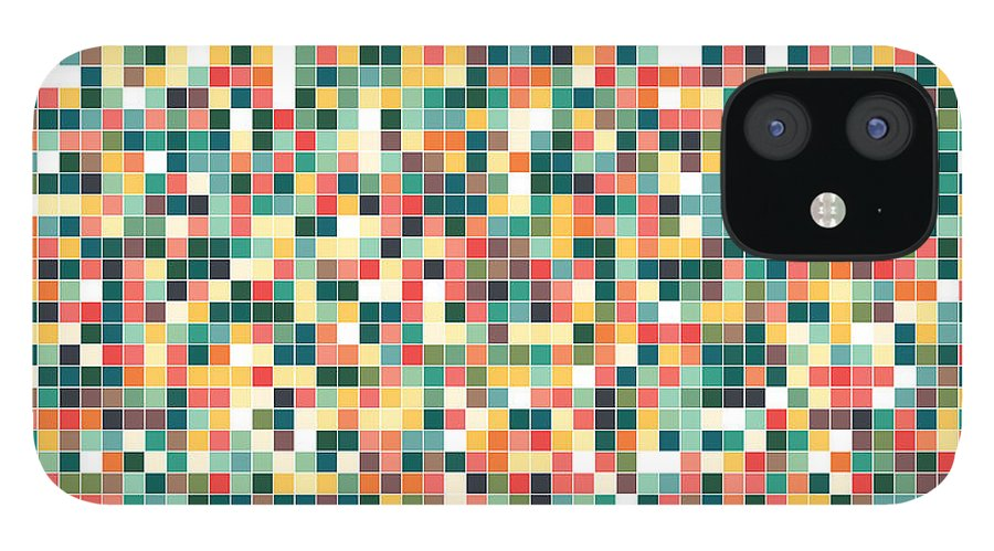 Pattern IPhone 12 Case featuring the digital art Retro Pixel Art by Mike Taylor