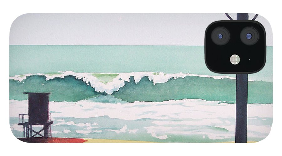 Surf IPhone 12 Case featuring the painting 14th Street Huntington Beach by Philip Fleischer