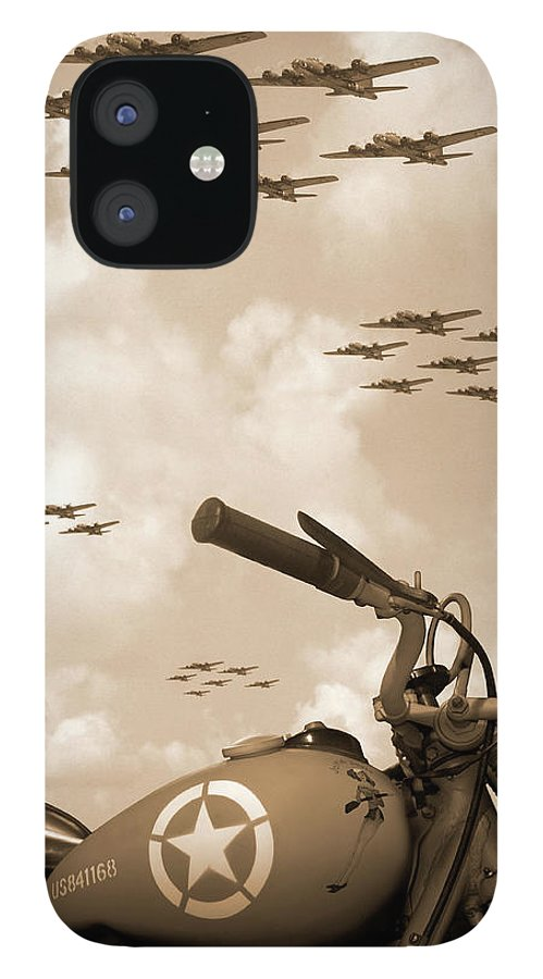 Warbirds IPhone 12 Case featuring the photograph 1942 Indian 841 - B-17 Flying Fortress' by Mike McGlothlen