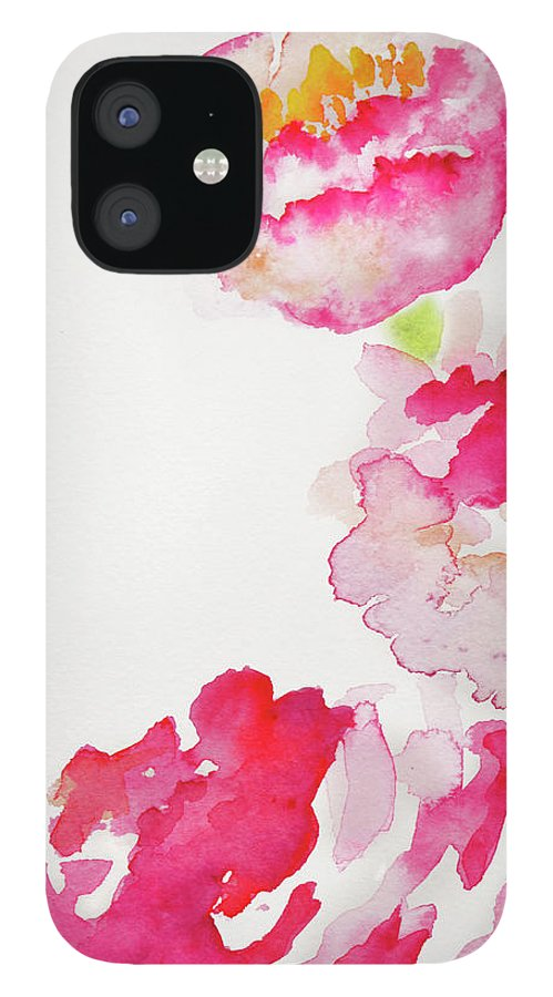 Art IPhone 12 Case featuring the photograph Abstract Watercolour Flowers by Kathy Collins