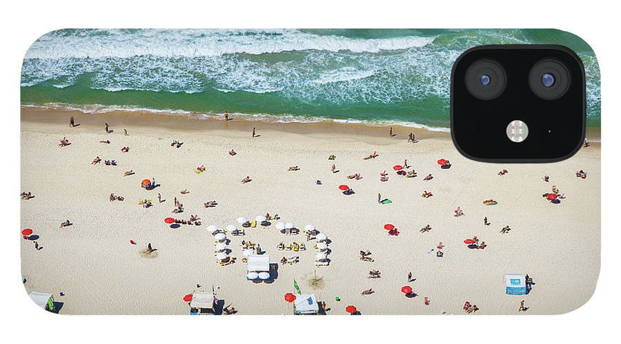 Water's Edge IPhone 12 Case featuring the photograph Aereal View Of Copacabana Beach In Rio by Gonzalo Azumendi