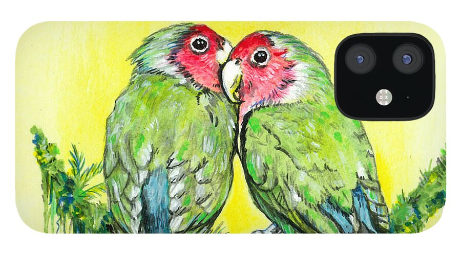 Lovebird IPhone 12 Case featuring the painting Everything is Just Peachy by Richard Brooks