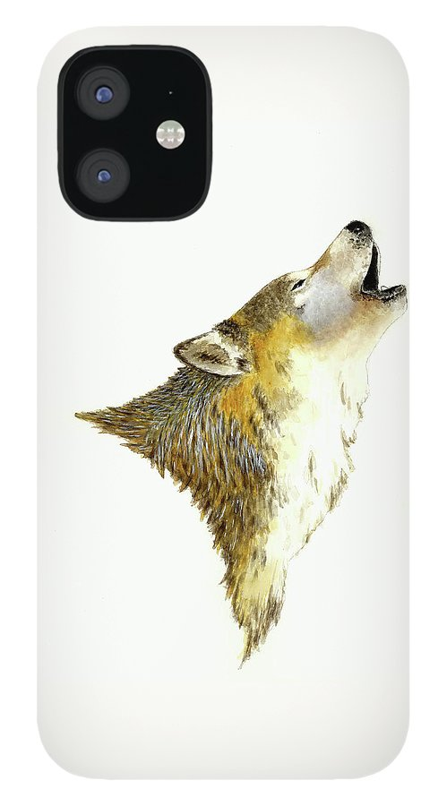 Animals IPhone 12 Case featuring the painting Howling Wolf by Michael Vigliotti