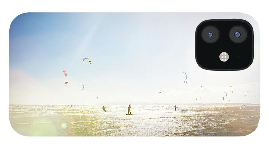 Water's Edge IPhone 12 Case featuring the photograph Kite Surfers by Nick David