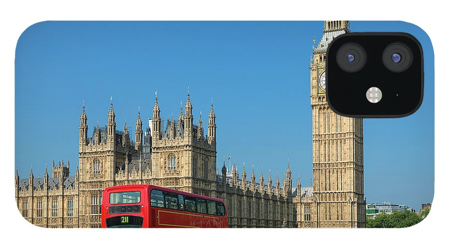 Clock Tower IPhone 12 Case featuring the photograph London, Big Ben And Traffic On by Sylvain Sonnet