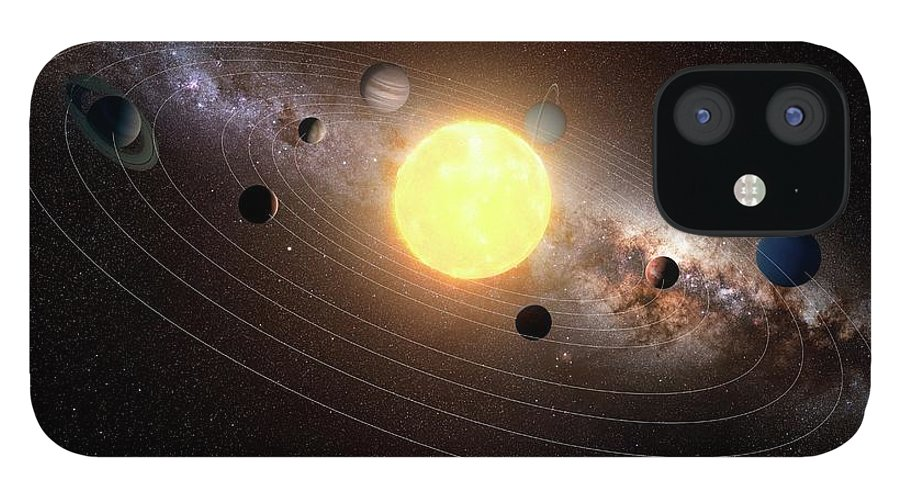 Black Background IPhone 12 Case featuring the digital art Solar System, Artwork by Sciepro