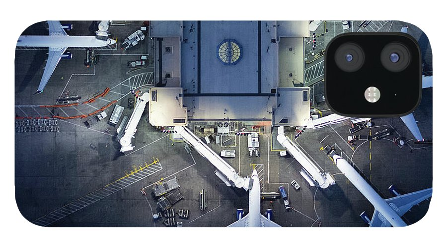 Airport Terminal iPhone 12 Case featuring the photograph Airliners At Gates And Control Tower by Michael H