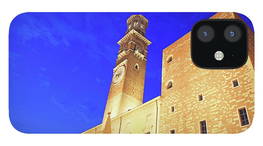 Clock Tower IPhone 12 Case featuring the photograph Italy, Verona by Hiroshi Higuchi