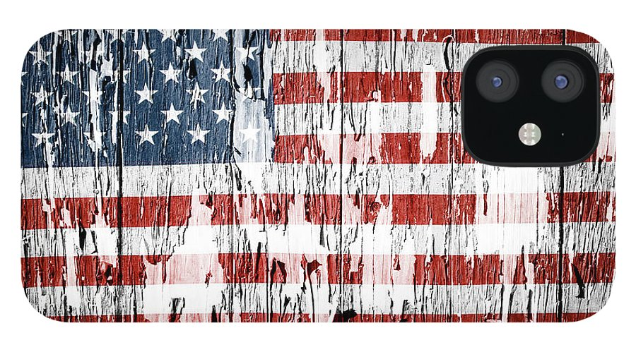Flag IPhone Case featuring the photograph American flag grunge effect by Les Cunliffe