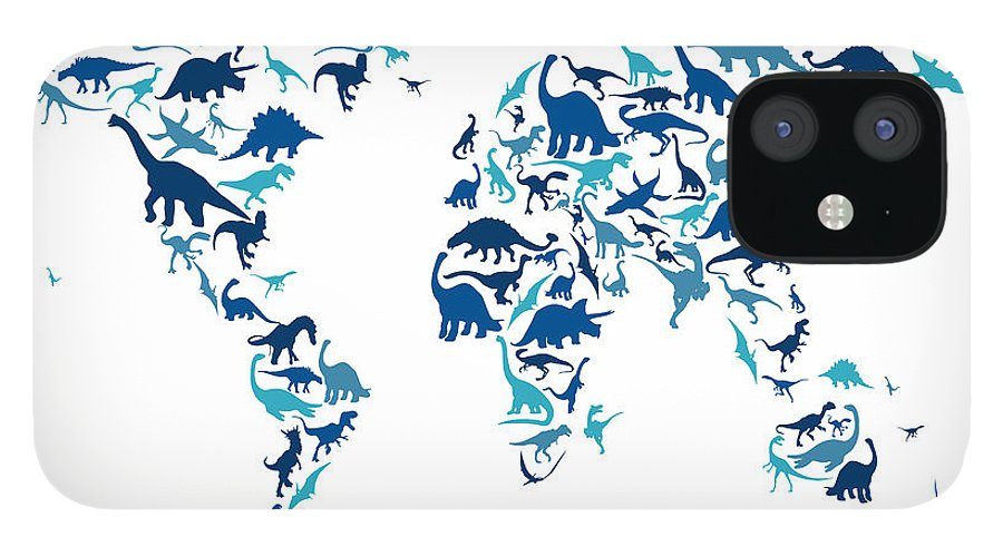 World Map IPhone 12 Case featuring the digital art Dinosaur Map of the World Map by Michael Tompsett