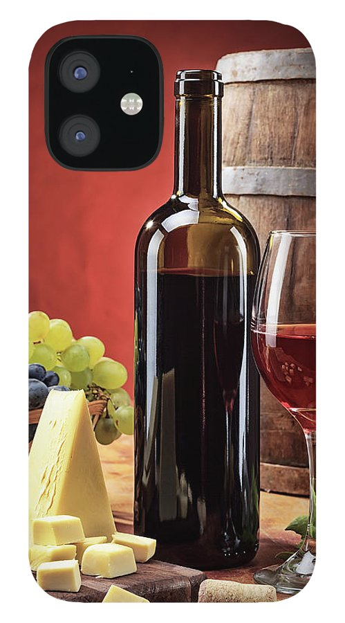Cheese IPhone 12 Case featuring the photograph Red Wine Composition by Valentinrussanov