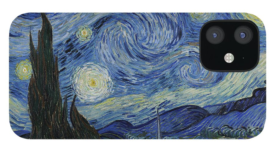 1889 iPhone 12 Case featuring the painting The Starry Night by Vincent van Gogh