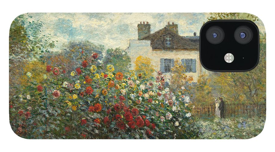 French IPhone 12 Case featuring the painting A Corner of the Garden with Dahlias by Claude Monet