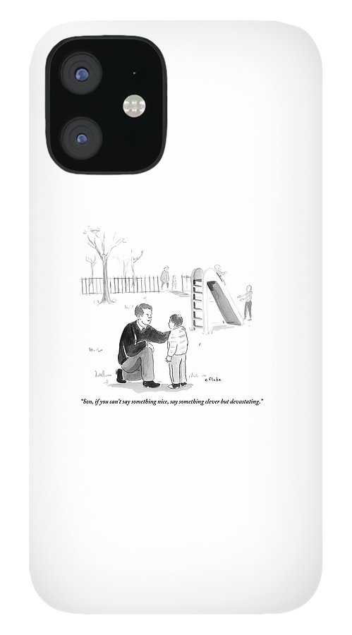 A Father Encourages His Son At The Playground IPhone 12 Case