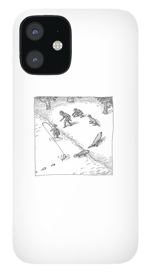 A Fisherman Wading In The Water  Catches A Fish IPhone 12 Case