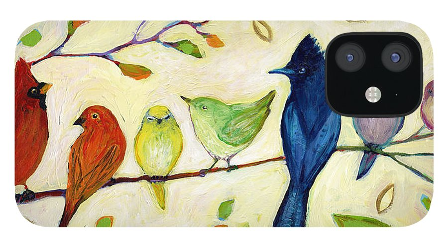 Bird IPhone 12 Case featuring the painting A Flock of Many Colors by Jennifer Lommers