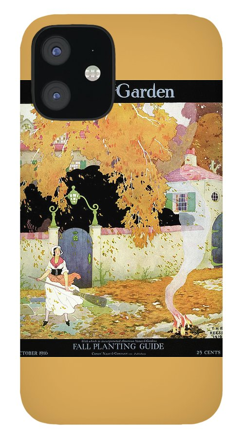 A Girl Sweeping Leaves IPhone 12 Case