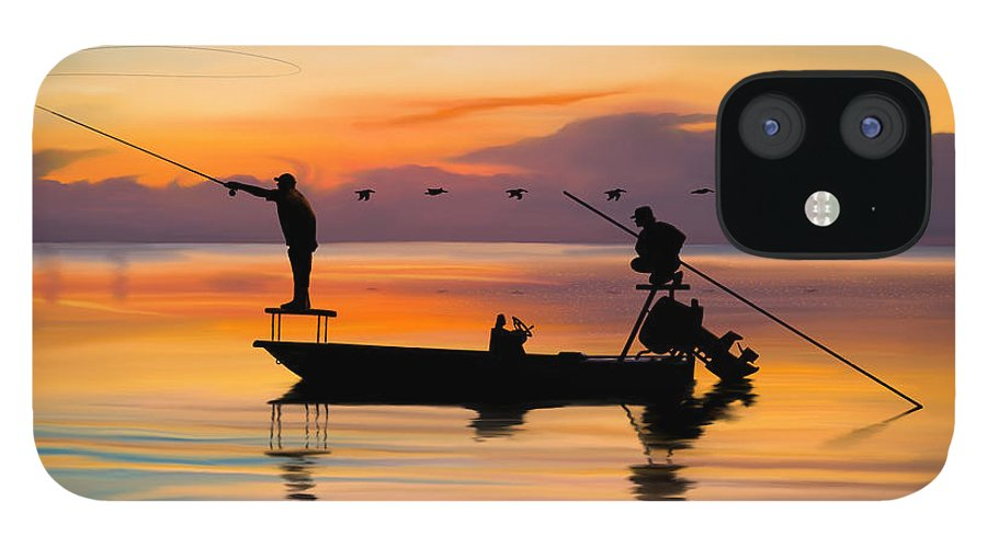 Fishing IPhone 12 Case featuring the digital art A Glorious Day by Kevin Putman