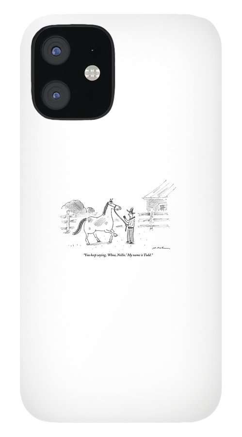 A Horse Speaks To A Cowboy Trying To Calm IPhone 12 Case