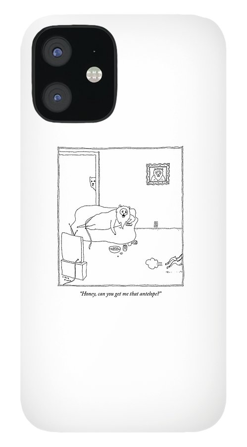 A Lion On The Couch Of A Living Room Watches Tv IPhone 12 Case