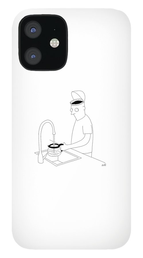 A Man Filling Up His Coffee Pot iPhone 12 Case