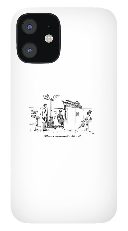 A Man Wearing Overalls Has A Solar Panel Hooked IPhone 12 Case