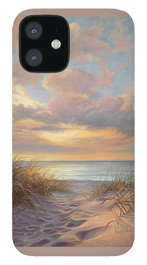 Beach IPhone 12 Case featuring the painting A Moment Of Tranquility by Lucie Bilodeau