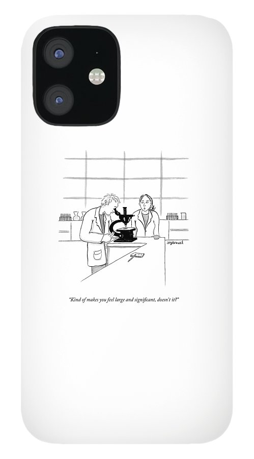 A Scientist Looking Into A Microscope iPhone 12 Case