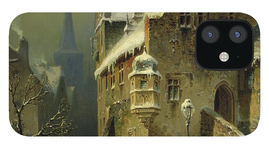 Schlieker IPhone 12 Case featuring the painting A Small Town in the Rhine by August Schlieker
