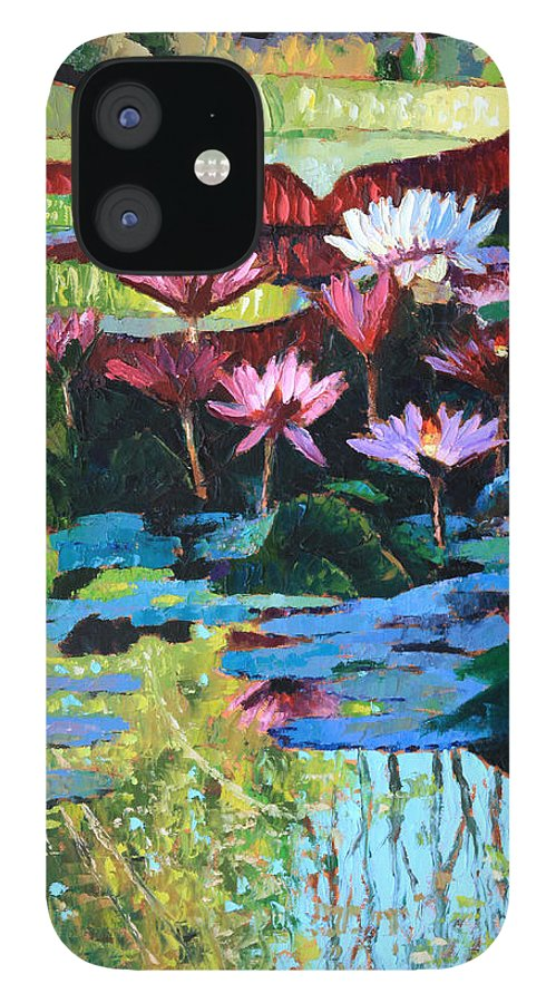 Garden Pond IPhone 12 Case featuring the painting A Splash of Sunlight by John Lautermilch