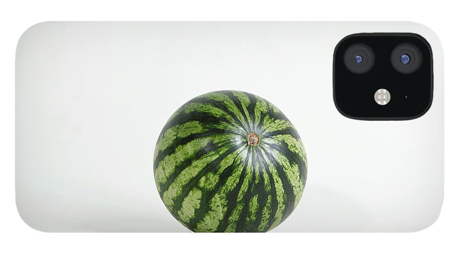 Shadow iPhone 12 Case featuring the photograph A Whole Ripe Watermelon, Studio Shot by Halfdark